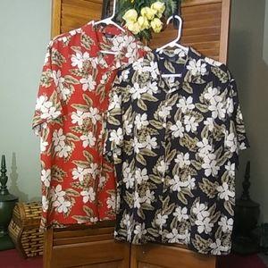 Mens Haggar 96% silk Hawaiian 2 shirt bundle.